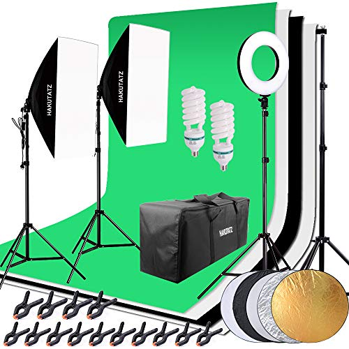HAKUTATZ® Profi Fotostudio Set mit Greenscreen Softbox Ringlicht mit Schutztasche