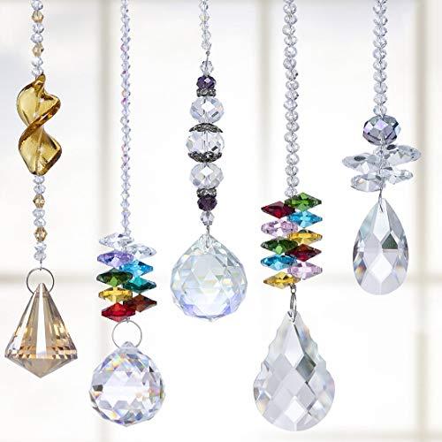 H&D HYALINE & DORA Bunte Kristall Regenbogen Sonnenfänger Hängende Chakra Glas Anhänger für Zuhause, Büro, Garten Dekoration, 5 Stück