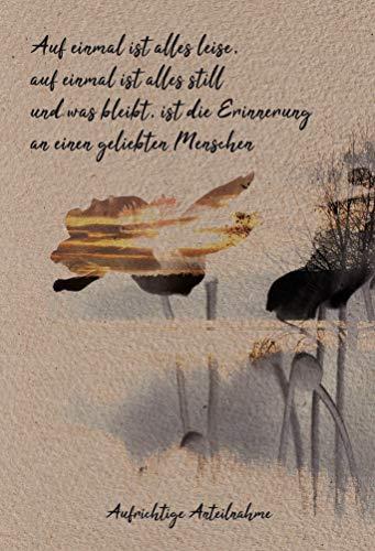 Anteilnahme Karte, Beileidskarte, Trauerkarte, im Format DIN B6 176 x 125 mm, Klappkarte mit Umschlag, Motiv: Blume und Landschaft