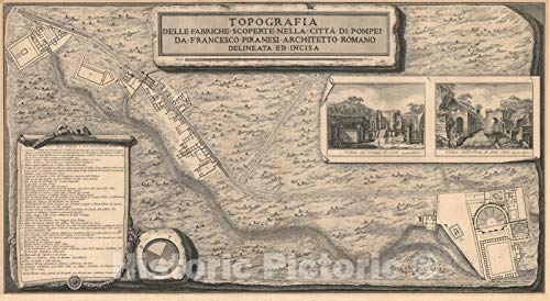 Historic Map : Plan of Ancient Pompeii, Italy, Piranesi, 1785, Vintage Wall Décor : 24in x 13in