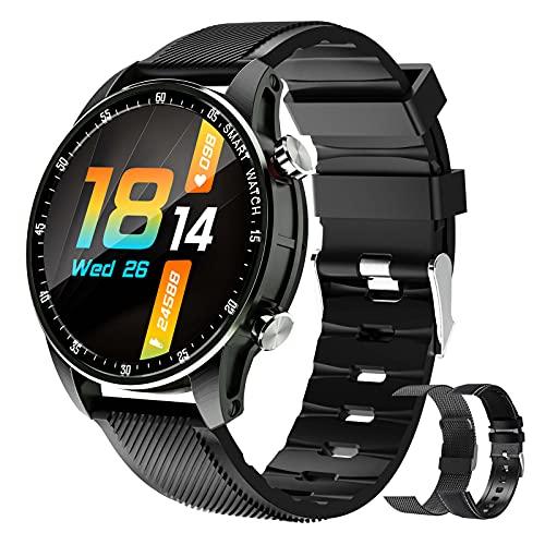 BNMY Reloj Inteligente Smartwatch Impermeable IP67 para Hombre Mujer Pulsera De Actividad Inteligente con 2 Correas Monitor De Sueño Contador De Caloría Pulsómetros Podómetro para Android iOS,A
