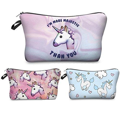 Kfnire 3pcs Unicornio bolsa de maquillaje lápiz bolso impermeable bolsa de viaje...