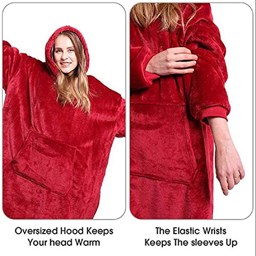 Chamtlnr Hooded Robe Sweatshirt, Red Blue - As Seen on TV, One Size Fits All (Red)