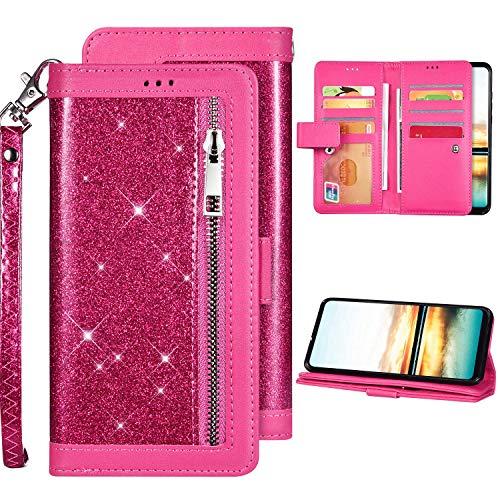 Kompatibel mit Huawei Mate 30 Hülle Leder Tasche Brieftasche Flip Case Schutzhülle,Glänzend Bling Glitzer Diamant PU Leder Wallet Handytasche Handyhülle mit Kartenhalter für Huawei Mate 30,Rot