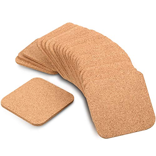 Boao 24 Pieces 5 mm Thick Wooden Cork Coasters Absorbent Square Drink Coasters Cork Trivet Mats 4 x 4 Inch