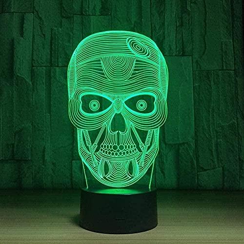7 colores LED Touch USB lámpara de mesa cráneo decoración lámparas con control remoto noche luz 16 color día de San Valentín USB recargable botón táctil