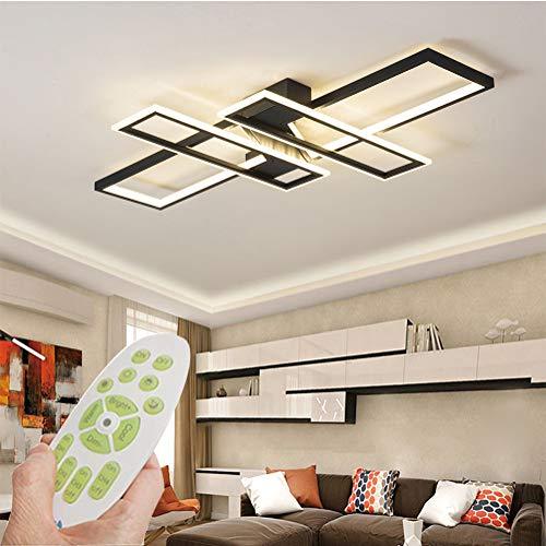 Lámpara LED de techo moderna para salón, regulable, mando a distancia, creativa, rectangular, de aluminio, acrílico, iluminación decorativa para dormitorio, salón, comedor, pasillo, lámpara (negro)