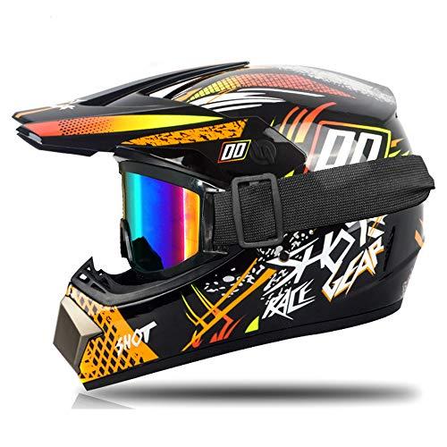 Fenengcheng - Casco de moto para niños, casco de motocross y guantes...