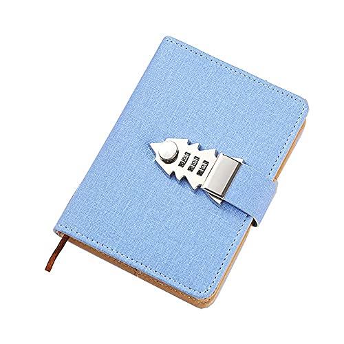 Cuaderno A7 con purpurina con cierre de tapa dura y forro de tapa dura, organizador de diario con contraseña secreta con bloqueo de combinación, soporte para bolígrafos y ranuras para tarjetas