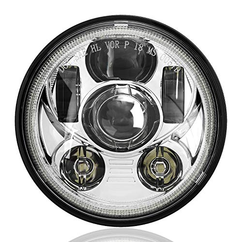 SUNPIE Motorcycle 5-3/4 5.75 Silver Halo LED Headlight for Harley Dyna Street Bob Super Wide Glide Low Rider Night Rod Train Softail Deuce Sportster Iron 883
