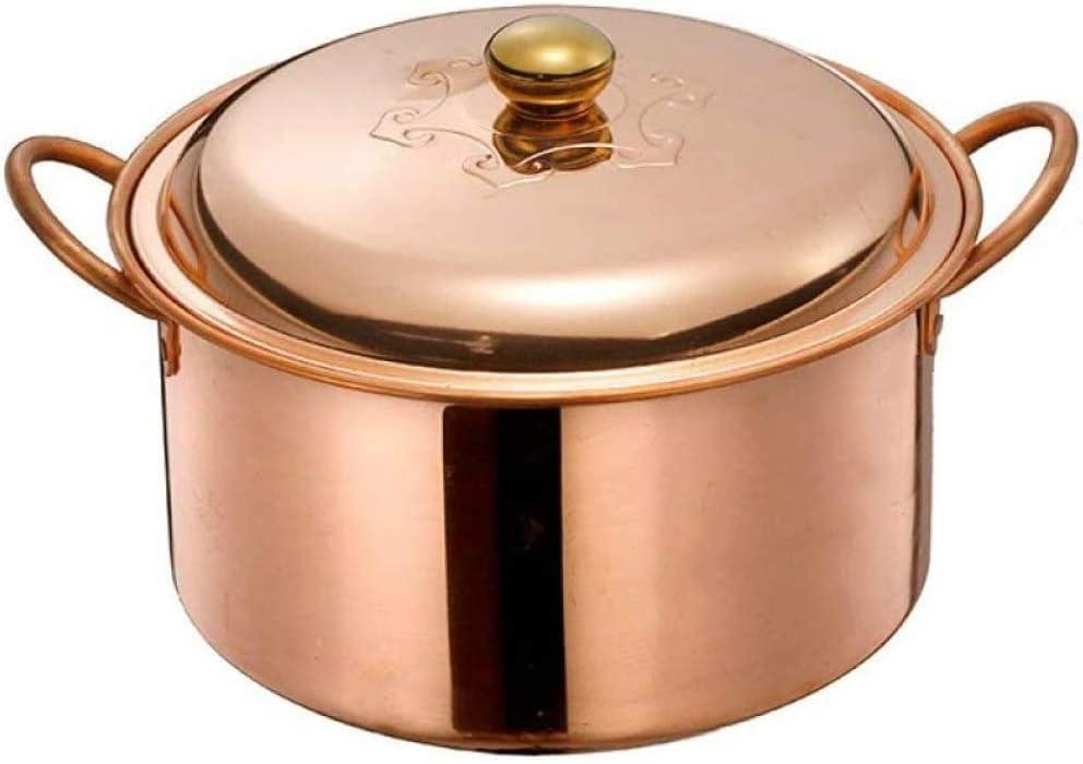 Olla de sopa de cobre hecha a mano, sartén para estofar, olla de cobre gruesa, cacerola de latón, olla de cobre multifuncional, olla caliente de cobre