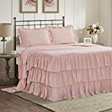 HIG 3 Piece Ruffle Skirt Bedspread Set - Peach Pink Color 30 inches Drop Ruffled Style Bed Skirt Coverlets Bedspreads Dust Ruffles - Echo Bedding Collections King Size - 1 Bedspread, 2 Standard Shams