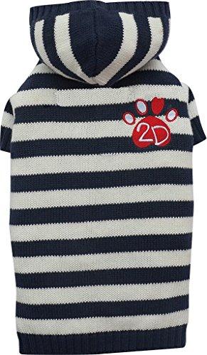 Doggydolly W358 außergewöhnlicher gestreifter Strickpullover/Hundesweater mit Kapuze, Stickerei 2D Pfote, XS