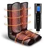 Leg Massager for Circulation with Heat, Air Compression Foot Massage Handheld Controller with 3 Mode 3 Intensities Calf Massage Machine for Home and Office Use (Black)