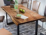SAM Baumkantentisch Quarto 200x100 cm, Akazienholz massiv + nussbaumfarben, echte Baumkante, Esszimmertisch mit schwarz lackierten Beinen, jeder Esstisch EIN Unikat - 4