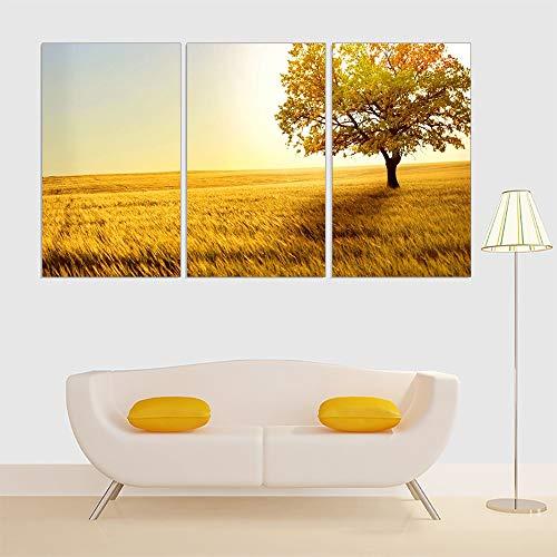 unknow UQstyle Kunstdruck Leinwand Poster hängen Tapete, Triptychon gelbbaum Kunstdruck Sonnenuntergang Malerei, Innenraum, 30x60cm (3pcs) kein Rahmen