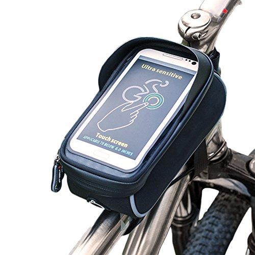 Demarkt Waterdichte fietstas fiets frametas bovenbuiszak dubbele zak mobiele telefoon tas voor mountainbike touchscreen ontwerp 6 inch rood Medium grijs