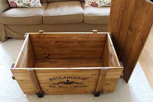 Truhentisch Boulangerie shabby chic Frachtkiste vintage Transportkiste, hellbraun, 98x55x46cm - 5