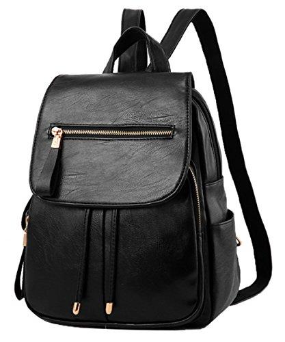 FLHT Frauen PU Rucksack Mode Kleinen Rucksack Schwarze Tasche Freizeit Messenger Bag Brust Tasche Handtasche Reisetasche Business Computer Rucksack,Black-OneSize