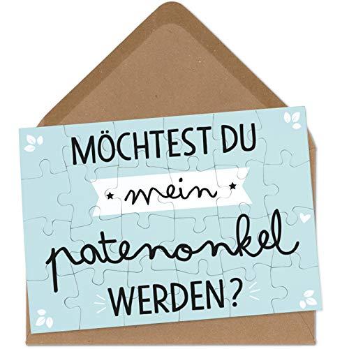OWLBOOK Patenonkel Fragen Puzzle mit Brief-Umschlag Geschenke Geschenkideen für Patenonkel zur Geburt & Schwangerschaft zur Taufe