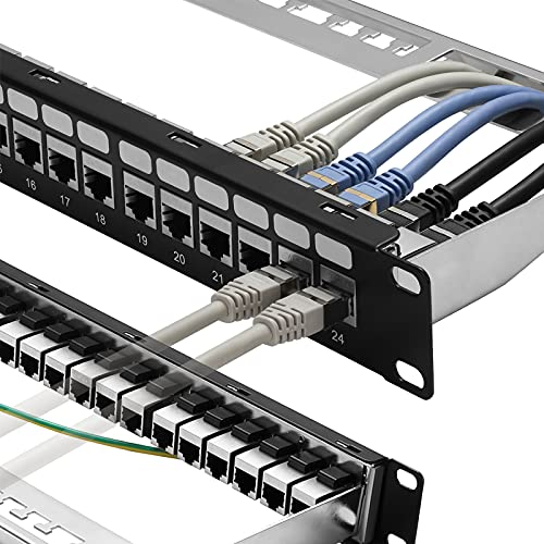 Patch Panel 24 Port Cat6A with Inline Keystone 10G Support, Rapink Coupler Patch Panel STP Shielded 19-Inch with Removable Back Bar, 1U Network Patch Panel for Cat7, Cat6, Cat6A, Cat5e, Cat5 Cabling