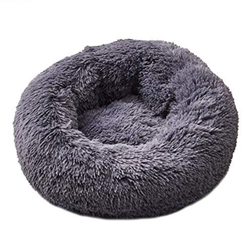 BUWL Cama de perro suave redonda de felpa nido de perrera de terciopelo plegable Pet Mat (negro S)
