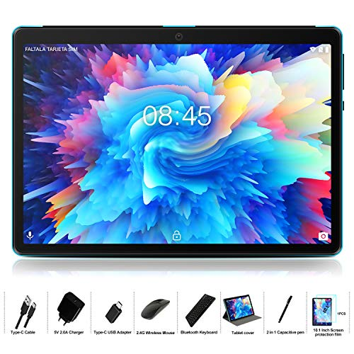 MEBERRY Tablet 10 Pulgadas Android 9 Pie Ultrar-Rápido Tablets 4GB RAM + 64GB ROM - Certificación Google gsm - Dual SIM - 8000mAh |WI-FI|Bluetooth|GPS| Type-C Tablet (5.0+8.0 MP Cámara) - Bleu