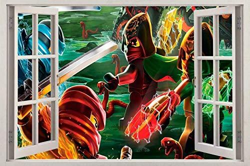 Wall Sticker Ninjago 3D Window Decal Wall Sticker Home Decor Art Mural60*90 cm