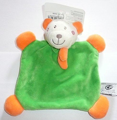 CP INTERNATIONAL Malice et Bulle - Peluches et Doudous - Doudou Plat Ours / Ourson Vert écharpe Orange 18 x 18 cm bébé Fille ou garçon
