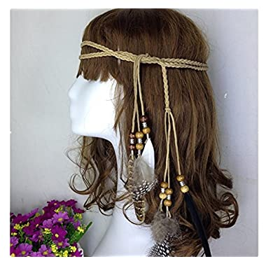 primerry Native American Indian Style Feather hair rope