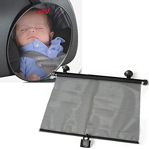 reer SafetyView Reboarder & Babyschale Travel Pack // 2er Set // Auto -Reboard -Sicherheitsspiegel SafetyView & Auto-Sonnenrollo schwarz //