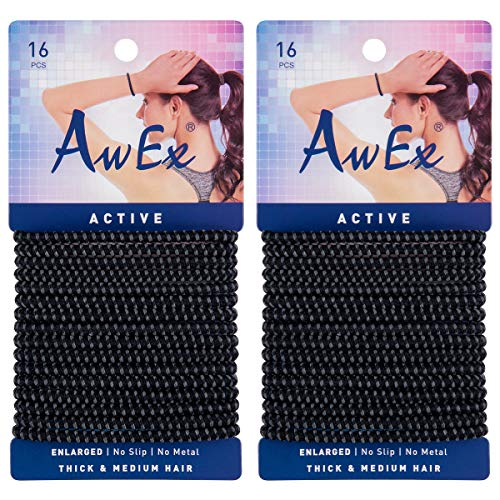 AwEx No Slip Black Hair Ties(ENLARGED), 32 PCS, 4 mm(0.16 inch) Thick and 160 mm(6.3 inches) Long Hair Elastics,Active Ponytail Holder,Sports Hair Bands,Slide Proof Binders