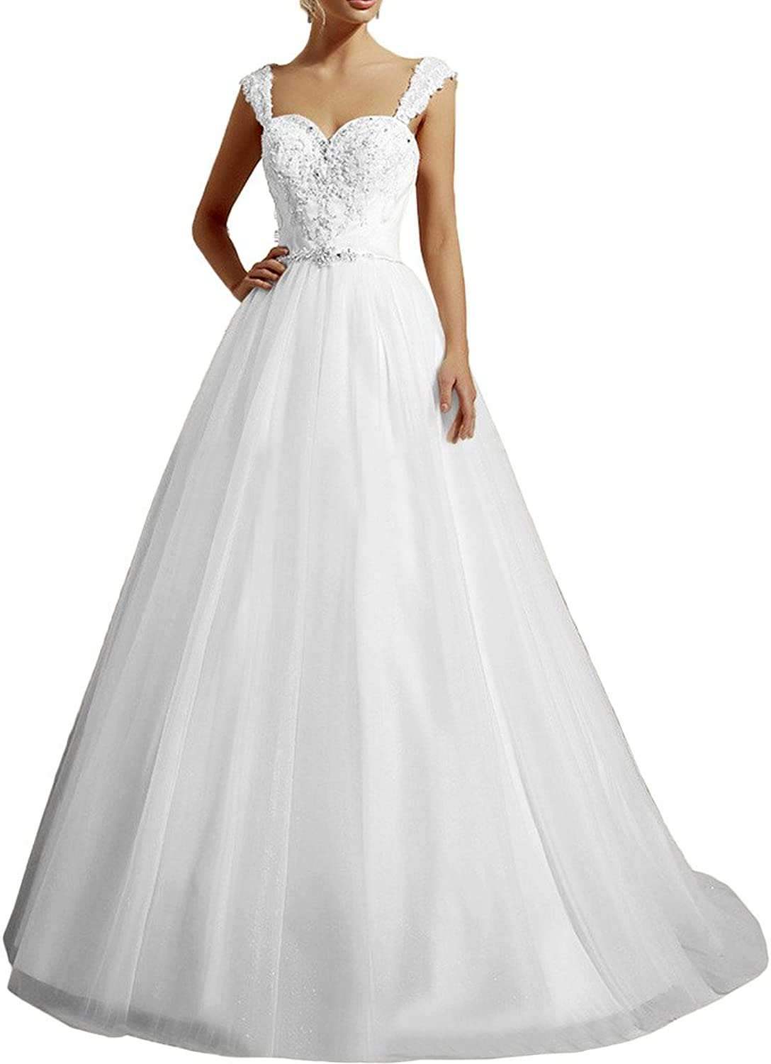 MILANO BRIDE Princess Bridal Wedding Dress Sweetheart Spaghetti Straps Beads
