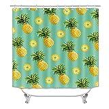Duschvorhang-Set mit Ananas-Motiv für Badezimmer, farbenfrohes Obst-Duschvorhang-Set für Badezimmer, Polyester-Stoff, tropische Duschvorhang-Dekorationen mit Haken, 183 x 183 cm (C30)