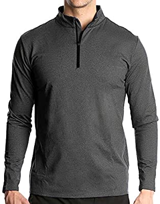 Fort Isle Men's Long Sleeve Half-Zip Pull Over Shirt - L - Dark Gray - Quick Dry Performance for Running