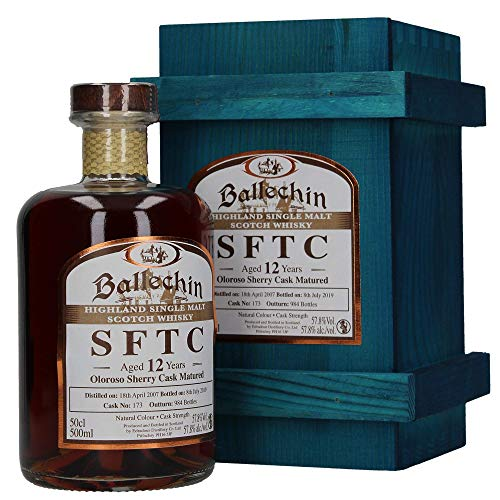 Edradour Ballechin SFTC Highland Single Malt Scotch Whisky, Oloroso Sherry Cask No. 173, 12 Jahre gereift, 0,5 L