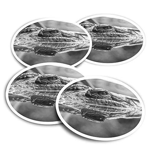 Vinyl Stickers (Set of 4) 10cm - BW - Crocodile Alligator Reptile Croc Fun Decals for Laptops,Tablets,Luggage,Scrap Booking,Fridges #35101
