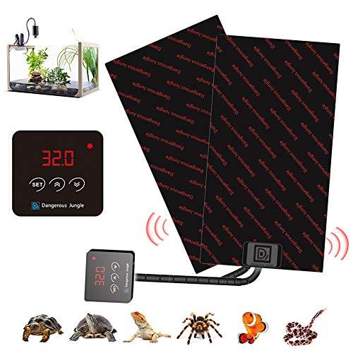 Almohadilla De Calentamiento De Reptiles, 130W Ajustable Tapetes Térmicos para Terrarios con Controlador De Temperatura para Tortuga, Serpientes, Lagarto, Gecko, Araña