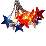 String Lights by TUU, American Star USB/ Battery Operated USA Flag Red White Blue Patriotic Decorations for Memorial Day, 4th of July, National Independence Day