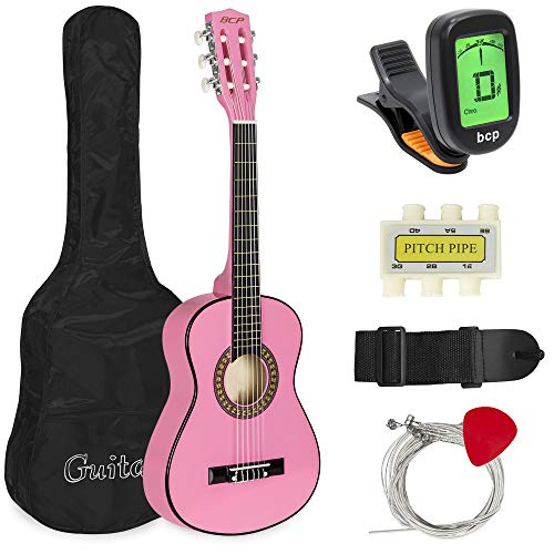 Best Choice Products 30in Kids Classical Acoustic Guitar Beginners Set w/Carry Bag, Picks, E-Tuner, Strap - Pink
