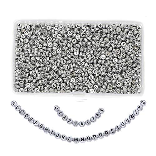 Alphabet Beads1000Pcs A-Z Letter Beads,0-9 Number Acrylic Beads Kit for DIY Bracelets, Necklaces, Jewelry Key Chains and Crafts Silver