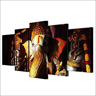 Pictures Living Room Home Decor Ganesha Poster Modular 5 Piece Elephant Ganesh India Religion Lord Balaji Canvas Painting