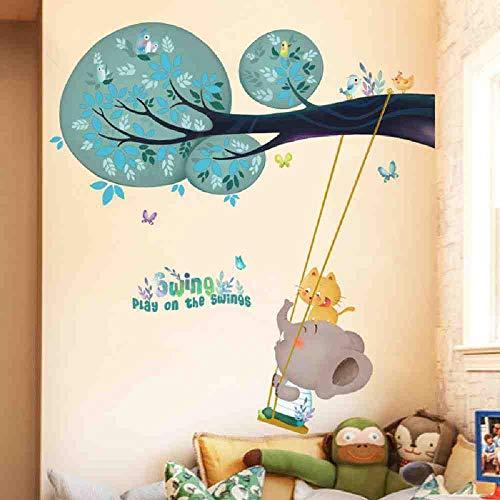 JPDP olifant spelen op de schommels dierlijke muur Stickers voor kinderen kamers Cartoon muursticker kinderen kamer baby kinderkamer huis decoratie