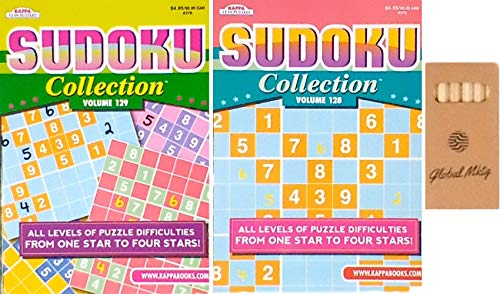 Sudoku Puzzle Books For Adults With Easy To Hard Puzzles In This 2 Pack Sudoku Collection Of Full Size Books Plus a Pack of Pencils (titles may vary)