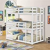 La más nueva cama triple con dos camas individuales sobre dos camas individuales, litera triple de madera con barandilla y escalera, desmontable, sin necesidad de somier, camas triples para niños