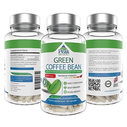 Peak Naturals #1 El grano de café verde más fuerte para perder peso6000 mg de máxima potencia50% de ácido clorogénicoPierde peso