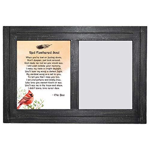 Lola Bella Gifts and Anchor Bay Enterprises Doppel-Bilderrahmen aus Holz, rustikal, 20,3 x 25,4 cm, mit Gedicht der roten gefederten Seele, Gedenkkarte, Trauergeschenk, Schwarz