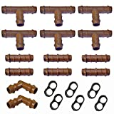Habitech Irrigation Fittings Kit for 1/2' Tubing - 20 Piece Set - 6 Tees, 6 Couplings, 2 Elbows, 6 End Cap Plugs - Barbed Connectors For Rain Bird And Compatible Drip or Sprinkler Systems