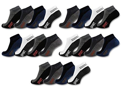 8 | 12 | 20 Paar Sneaker Socken Herren Sport Baumwolle Atmungsaktiv - 16737 (43-46, 20 Paar - Farbmix)