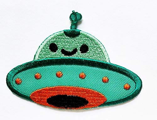 HHO Green Flying Saucer Spacecraft Cartoon Patch Embroidered DIY Patches, Cute Applique Sew Iron on Kids Craft Patch for Bags Jackets Jeans Clothes